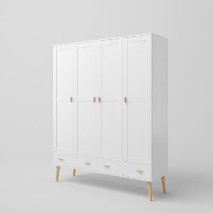 Veľmi Veľká Biela Škandinávska Štvordverová Skriňa - 6360